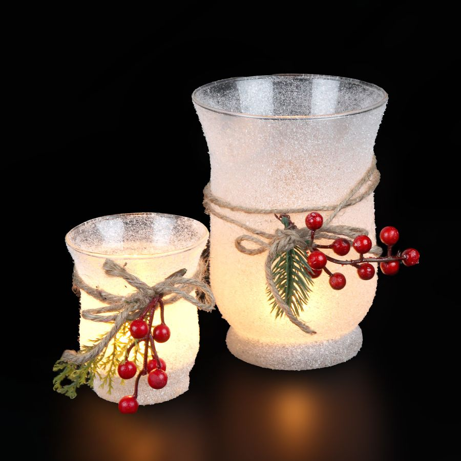 Christmas Glass with red Berries - large