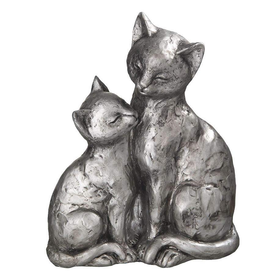 Large Cat Pair - Antq. Silver 22cm