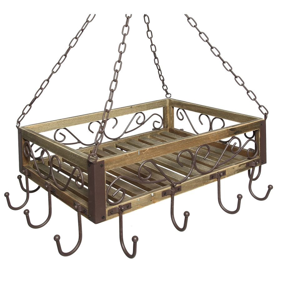 Burnt Wood/Iron Pan Hanger 60cm