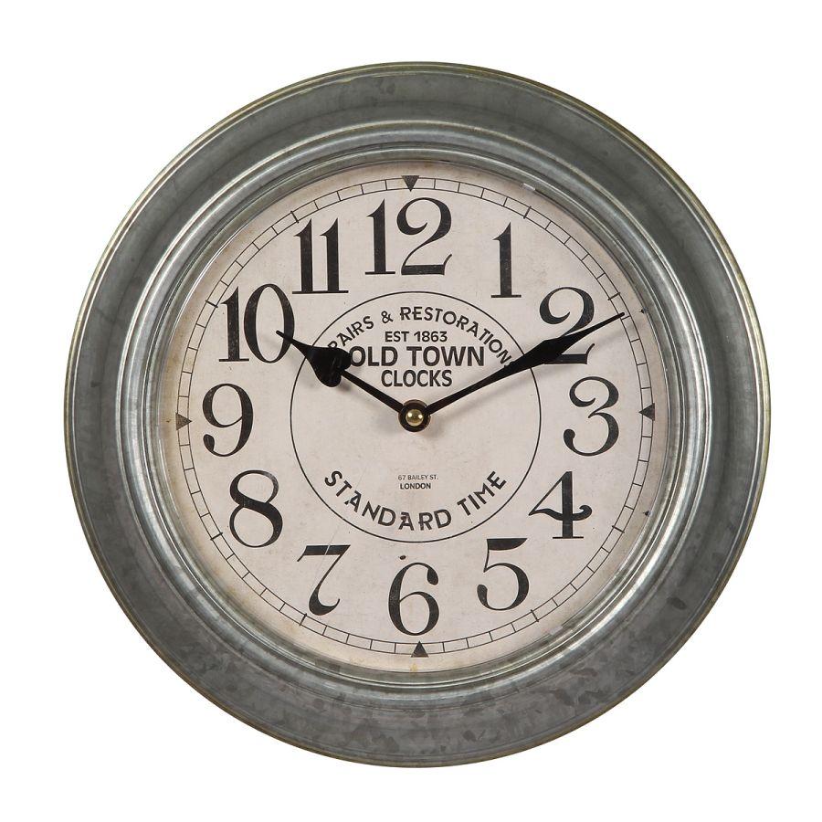 Metal Wall Clock - Silver 30cm