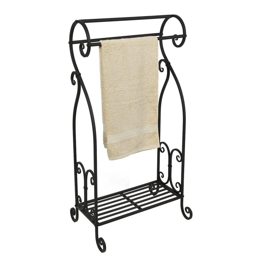 Towel Holder antq black - curved 90cm