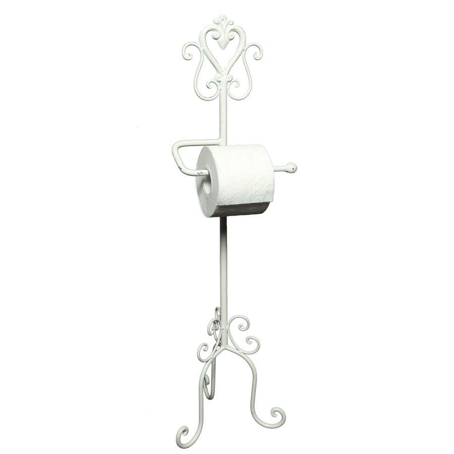 White Floor Standing Toilet Roll Holder