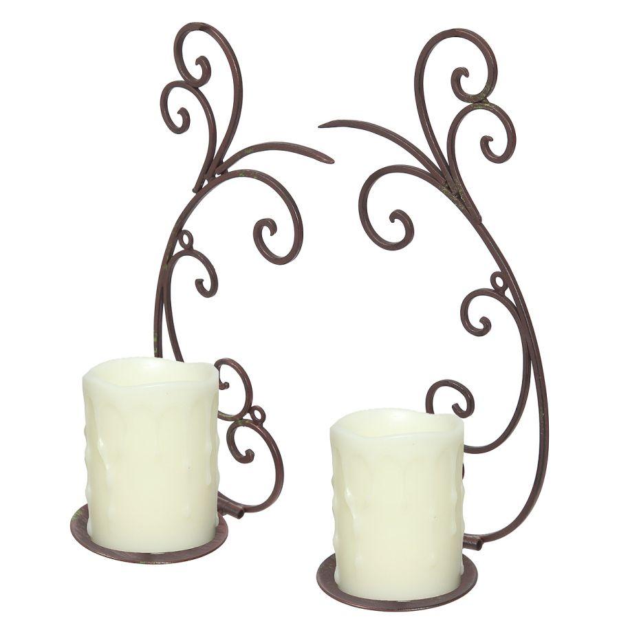Candle Sconce Pair - Black 33cm