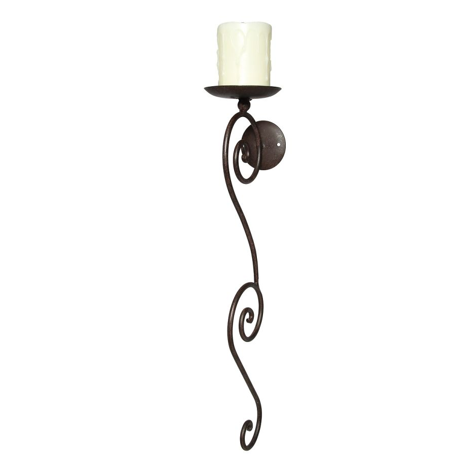 Candle Sconce - Antq Brown 58cm