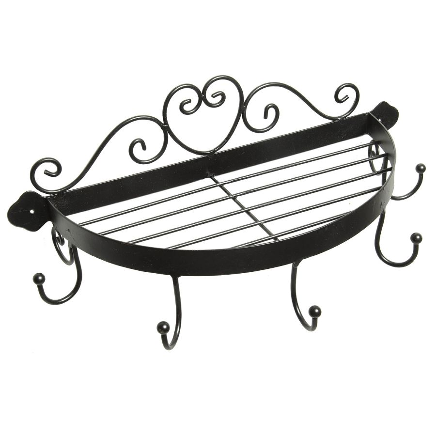 Half round shelf with hooks - black