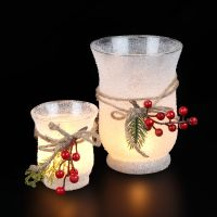 Christmas Glass with red Berries - small