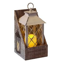 Atq. White Lantern 34cm incl. LED Candle