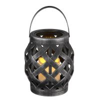 Rattan Lantern incl. LED Candle - Black