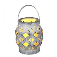Rattan Lantern incl. LED Candle - White