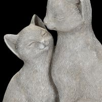 Grey Cat with Kitten 21cm