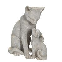 Grey Cat with Kittten 14cm