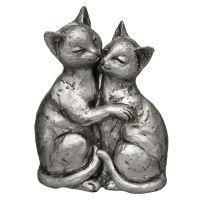 Cat Pair - Antq Silver 15cm