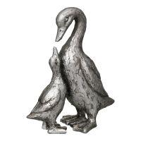 Duck Pair - Antq Silver 20cm