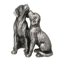 Dog Pair - Antq. Silver 16cm