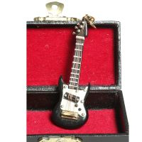 Keyring - Black Electric Guitar 7cm