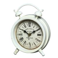 Metal Table Clock - White 16cm