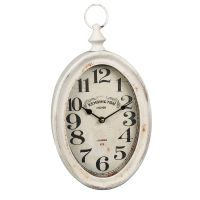 Oval Metal Wall Clock - Antq White 28cm