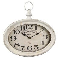Oval Metal Wall Clock - Antq White 27cm