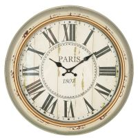 Cream Metal Paris Wall Clock 47cm