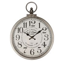Metal Wall Clock Silver 35cm
