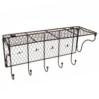 Shelf with numbered hooks - brown